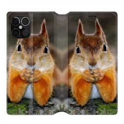 Housse cuir portefeuille pour Iphone 12 Pro Max Ecureuil Face