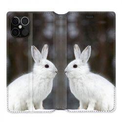 Housse cuir portefeuille pour Iphone 12 Pro Max Lapin Blanc