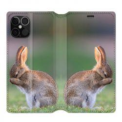 Housse cuir portefeuille pour Iphone 12 Pro Max Lapin Marron
