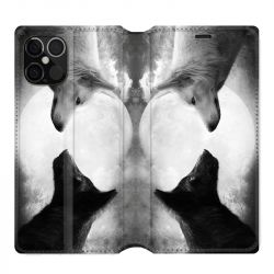Housse cuir portefeuille pour Iphone 12 Pro Max Loup Duo