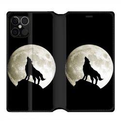Housse cuir portefeuille pour Iphone 12 Pro Max Loup Noir