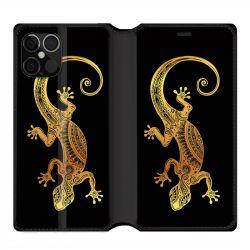 Housse cuir portefeuille pour Iphone 12 Pro Max Animaux Maori Lezard Noir