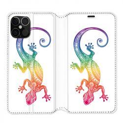 Housse cuir portefeuille pour Iphone 12 Pro Max Animaux Maori Salamandre Color