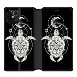 Housse cuir portefeuille pour Iphone 12 Pro Max Animaux Maori Tortue Noir