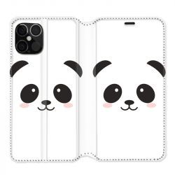 Housse cuir portefeuille pour Iphone 12 Pro Max Panda Blanc