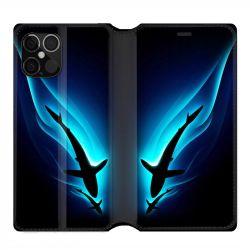 Housse cuir portefeuille pour Iphone 12 Pro Max Requin Noir