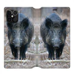 Housse cuir portefeuille pour Iphone 12 Pro Max Sanglier Pin