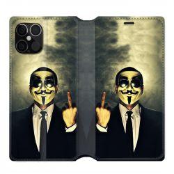 Housse cuir portefeuille pour Iphone 12 Pro Max Anonymous Doigt