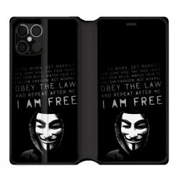 Housse cuir portefeuille pour Iphone 12 Pro Max Anonymous I am free