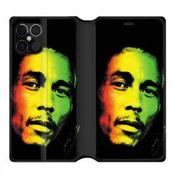 Housse cuir portefeuille pour Iphone 12 Pro Max Bob Marley 2