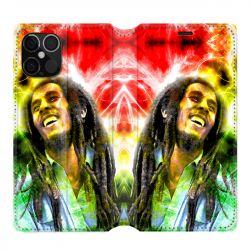 Housse cuir portefeuille pour Iphone 12 Pro Max Bob Marley Color