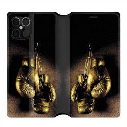 Housse cuir portefeuille pour Iphone 12 Pro Max Boxe Gant Vintage