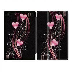Housse Smart Cover Pour Samsung Galaxy Tab A7 (10.4) Coeur Rose Montant sur Noir