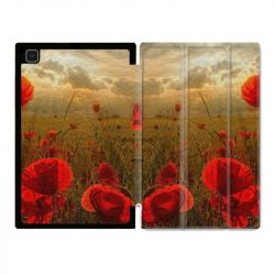 Housse Smart Cover Pour Samsung Galaxy Tab A7 (10.4) Fleur Coquelicot