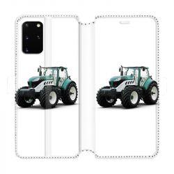 Housse cuir portefeuille pour Samsung Galaxy S20 Plus Agriculture Tracteur Blanc