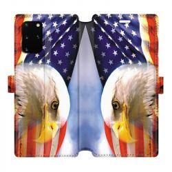 Housse cuir portefeuille pour Samsung Galaxy S20 Plus Amerique USA Aigle
