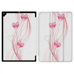 Housse Smart Cover pour Ipad 9.7 (NO VERSION PRO) Coeur Rose Montant sur Blanc