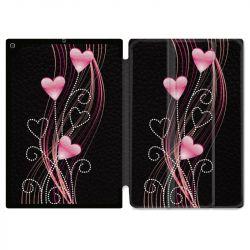 Housse Smart Cover pour Ipad 9.7 (NO VERSION PRO) Coeur Rose Montant sur Noir