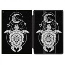 Housse Smart Cover pour Ipad 9.7 (NO VERSION PRO) Animaux Maori Tortue Noir