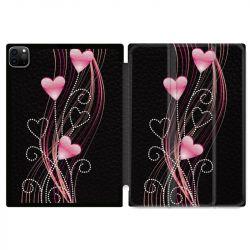 Housse Smart Cover pour Ipad 11 Pro 2020 Coeur Rose Montant sur Noir