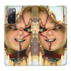 Housse Cuir Portefeuille Pour Samsung Galaxy S20 FE / S20FE Chucky Blanc