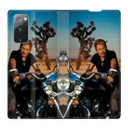 Housse Cuir Portefeuille Pour Samsung Galaxy S20 FE / S20FE Johnny Hallyday Moto