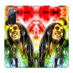 Housse Cuir Portefeuille Pour Samsung Galaxy S20 FE / S20FE Bob Marley Color