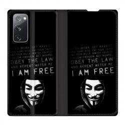 Housse Cuir Portefeuille Pour Samsung Galaxy S20 FE / S20FE Anonymous I am free