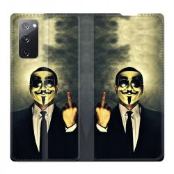 Housse Cuir Portefeuille Pour Samsung Galaxy S20 FE / S20FE Anonymous Doigt