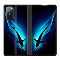 Housse Cuir Portefeuille Pour Samsung Galaxy S20 FE / S20FE Requin Noir