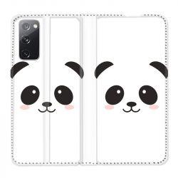 Housse Cuir Portefeuille Pour Samsung Galaxy S20 FE / S20FE Panda Blanc