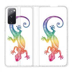 Housse Cuir Portefeuille Pour Samsung Galaxy S20 FE / S20FE Animaux Maori Salamandre Color