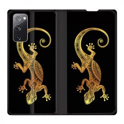 Housse Cuir Portefeuille Pour Samsung Galaxy S20 FE / S20FE Animaux Maori Lezard Noir