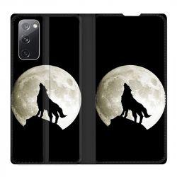 Housse Cuir Portefeuille Pour Samsung Galaxy S20 FE / S20FE Loup Noir