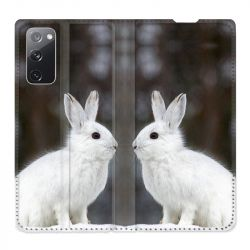 Housse Cuir Portefeuille Pour Samsung Galaxy S20 FE / S20FE Lapin Blanc