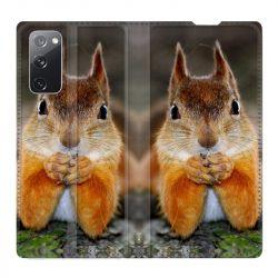 Housse Cuir Portefeuille Pour Samsung Galaxy S20 FE / S20FE Ecureuil Face