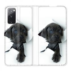 Housse Cuir Portefeuille Pour Samsung Galaxy S20 FE / S20FE Chien Noir