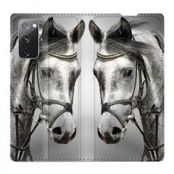 Housse Cuir Portefeuille Pour Samsung Galaxy S20 FE / S20FE Cheval Blanc