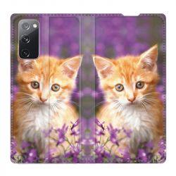 Housse Cuir Portefeuille Pour Samsung Galaxy S20 FE / S20FE Chat Violet