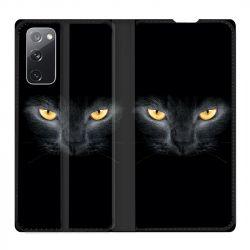 Housse Cuir Portefeuille Pour Samsung Galaxy S20 FE / S20FE Chat Noir