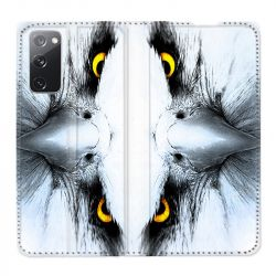 Housse Cuir Portefeuille Pour Samsung Galaxy S20 FE / S20FE Aigle Royal Blanc