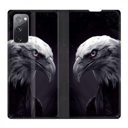 Housse Cuir Portefeuille Pour Samsung Galaxy S20 FE / S20FE Aigle Royal Noir