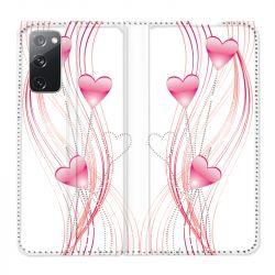 Housse Cuir Portefeuille Pour Samsung Galaxy S20 FE / S20FE Coeur Rose Montant sur Blanc