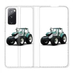 Housse Cuir Portefeuille Pour Samsung Galaxy S20 FE / S20FE Agriculture Tracteur Blanc