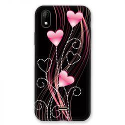 Coque Pour Wiko Y61 Coeur Rose Montant sur Noir