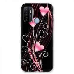 Coque Pour Oppo A53 / A53S Coeur Rose Montant sur Noir
