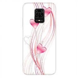 Coque Pour Xiaomi Redmi Note 9S / 9 Pro Coeur Rose Montant sur Blanc