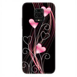Coque Pour Xiaomi Redmi Note 9S / 9 Pro Coeur Rose Montant sur Noir