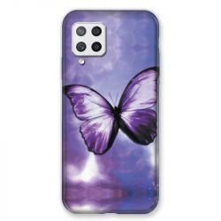 Coque Pour Samsung Galaxy A42 Papillon Violet et Blanc