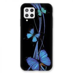 Coque Pour Samsung Galaxy A42 Papillon bleu sur Noir